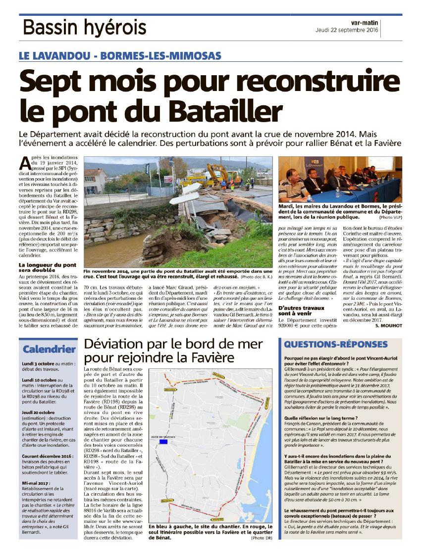 Article de presse relatif à la réunion publique portant sur la reconstruction du pont de franchissement du Batailler
