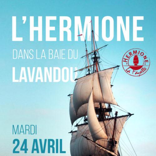 Mardi 24 avril - 11h à 15h - Venez admirez l'Hermione dans la baie du Lavandou - Rdv à l'école de voile dès 10h30 pour la parade nautique d'arrivée