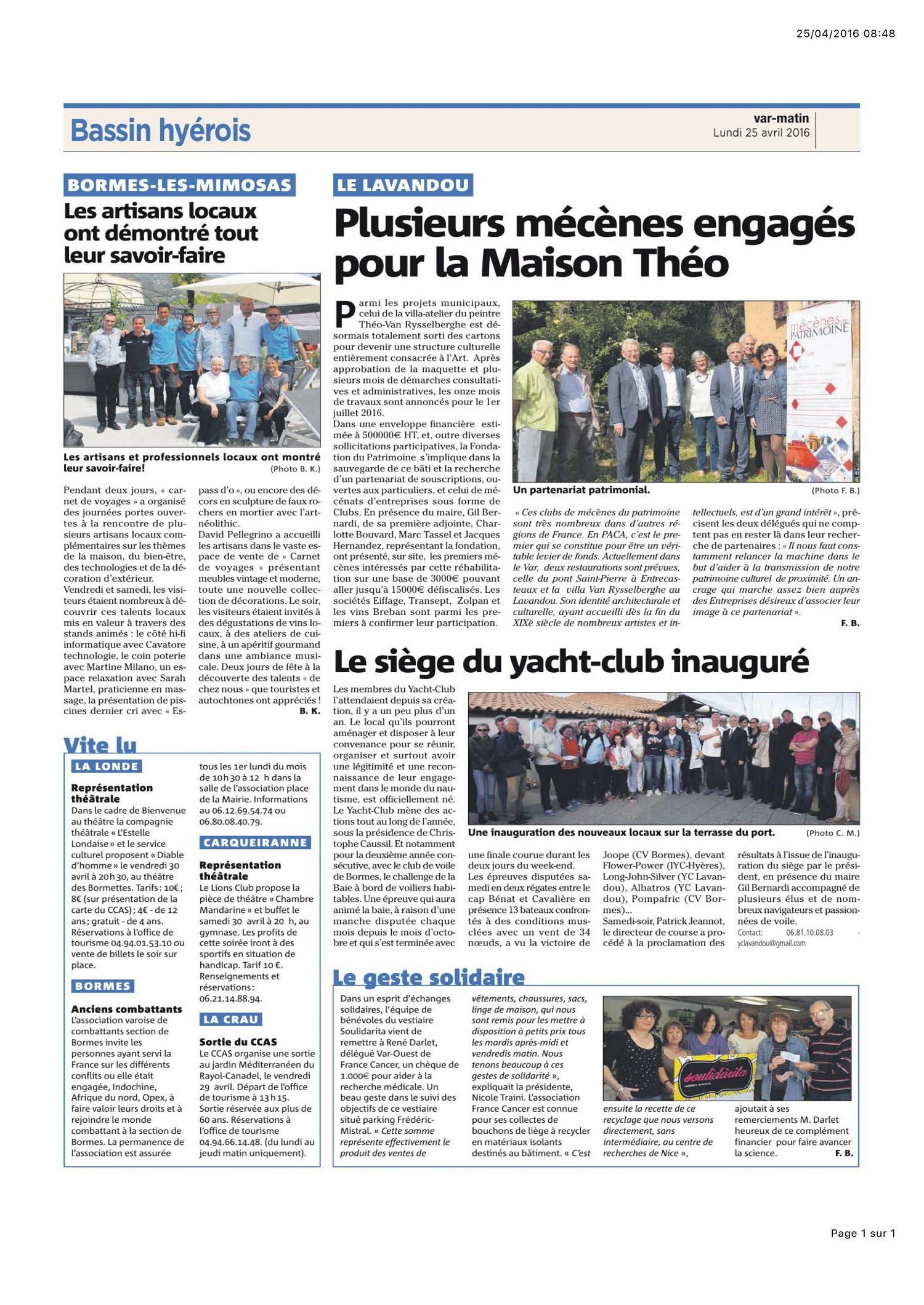 Villa Théo article Var-Matin