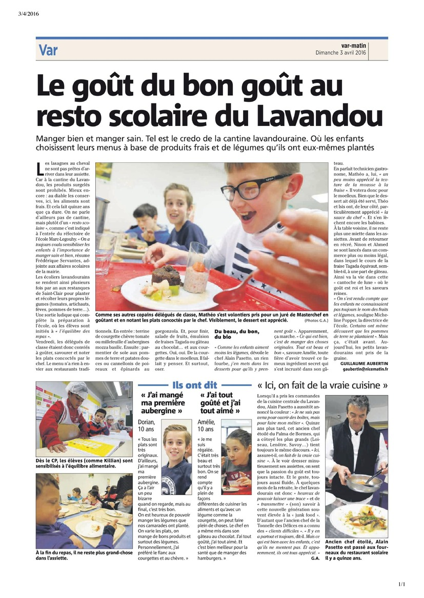 Resto scolaire - Article Var-Matin